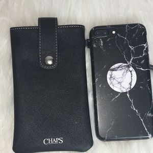 NEW CHAPS BLACK  SILVER SNAP CELL Wristlet
